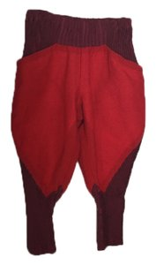 Issey Miyake Cotton Blend Elegant Unique Super Flare Pants Red and burgundy