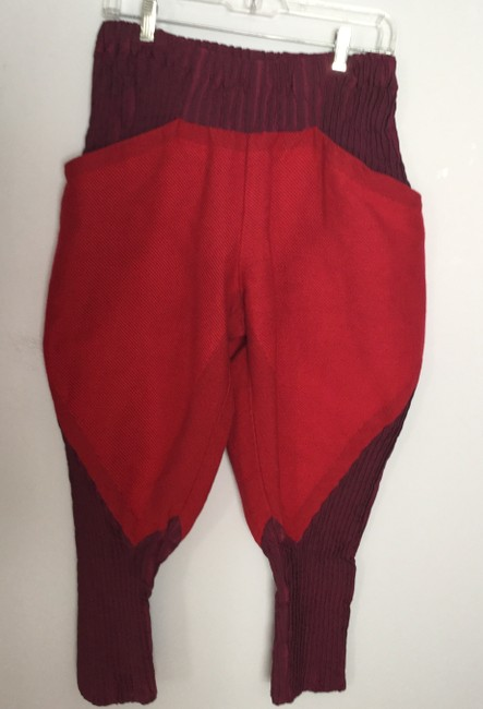 Issey Miyake Blend Elegant Unique Comfortable Super Flare Pants Red and burgundy