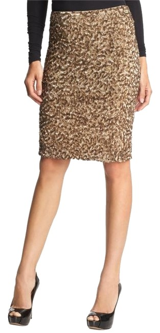 Vince Sequin Limited Edition Sparkle Party Midi Pencil Glitter Evening Breathable Holiday Date Night Night Out Skirt muted gold