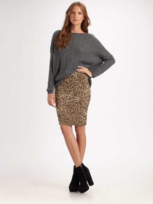 Vince Sequin Limited Edition Sparkle Party Midi Pencil Glitter Evening Gold Breathable Holiday Date Night Night Out Skirt muted gold