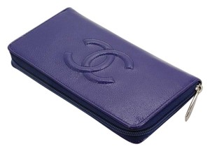 Chanel Chanel Blue Patent Leather Long Gusset Zip Wallet NEW