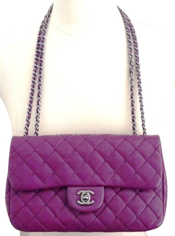 9a3e655feab4 Chanel Diamond Beauty Classic Single Flap 2.55 Cross Body Violet Lavender  Plum Grape Cc Logo Swarovski ...