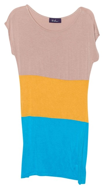 Wish short dress Tan, Teal Blue, Golden Yellow Color Block on Tradesy
