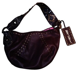 Betsey Johnson Leather Leather Tag With Studs Included Signature Horse Shoe Charm On Zippers Hobo Bag