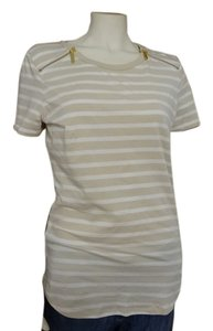 Michael Kors Goldtone Zippers On Front Of T Shirt Sandshell Striped