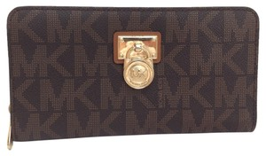 Michael Kors Micheal Kors New Brown Hamilton Signature Zip Around Wallet