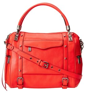 Rebecca Minkoff Cupid Coral Leather Satchel in Hot Red