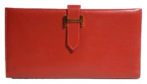 Hermès Hermes Rouge Red Swift Leather Bearn H Wallet.