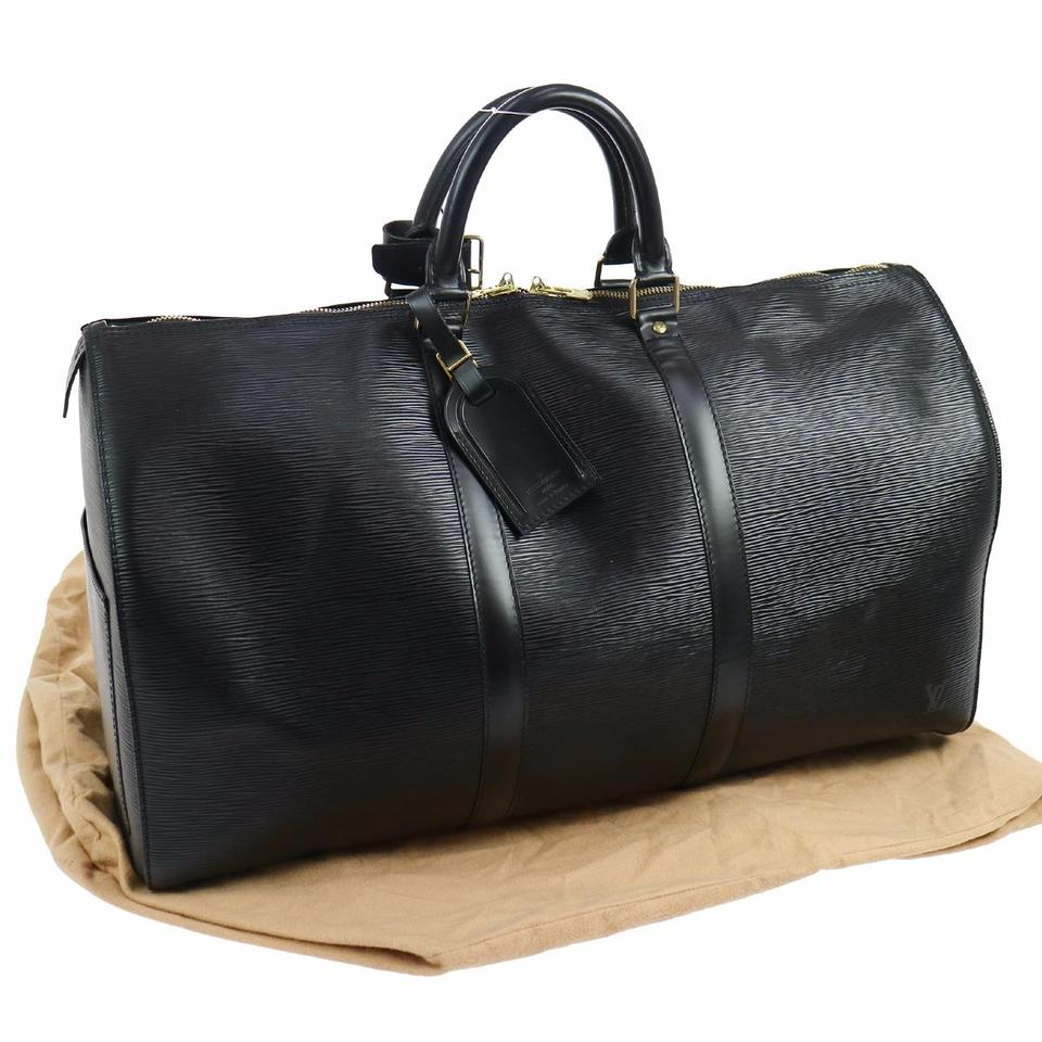 louis vuitton keepall 50 black epi leather weekend travel bag tradesy. Black Bedroom Furniture Sets. Home Design Ideas