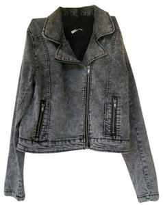Divided by H&M New Denim Biker Acid Wash Zippers grey Womens Jean Jacket