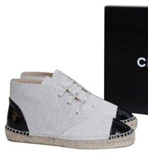 Chanel Crackle Colorblock Size 10 Espadrilles Lace Up High Tops Hi Tops Light Beige And Black Boots