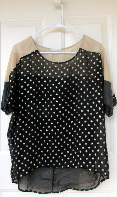 Other Chiffon Sheer Polka Dots High Low Cotton Top black, white, tan
