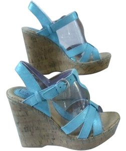 Brn Aqua - light glitter Wedges