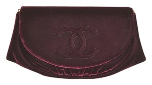 Chanel Half Moon Velvet A40033 Woc Wallet On Chain Cross Body Bag