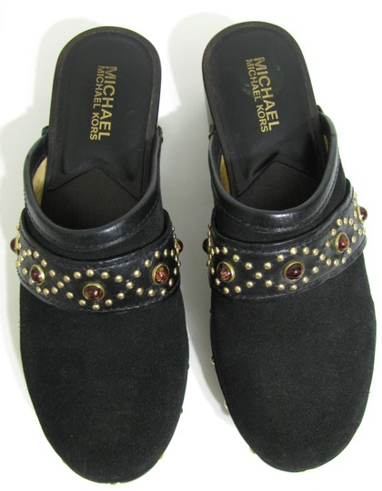 Michael Kors Suede Stone Studded 6.5 Bejeweled Gold New Genuine Leather black Mules