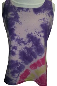 Basic Editions Basic Editions Tank Top, Tye Dye in Purple/Pink/Yellow, Built in Bra, Size Large