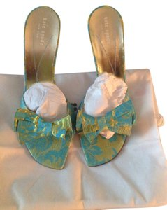 Kate Spade Made In Italy Turquoise & Green Mules