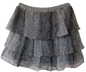 H&M Dots Ovals Ruffle Layers Mini Skirt black, white