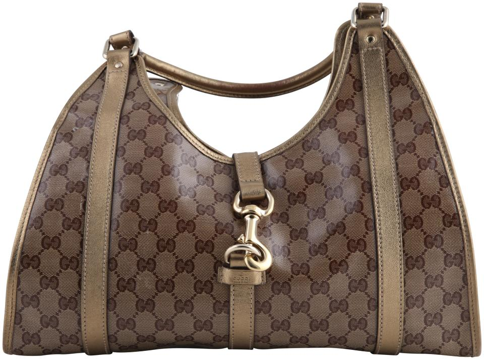 1e5d818cb48c Gucci Bardot Large Monogram Crystal and Leather Gold Coated Canvas ...