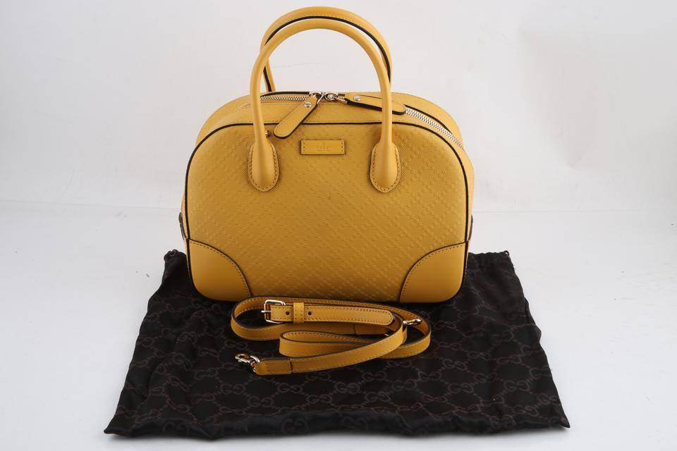 11b2aaa39cb2b9 Gucci Top Handle Bumblebee Bright Diamante Textured Yellow Leather ...