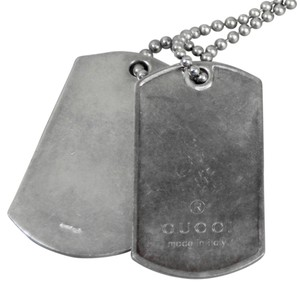 Gucci * Gucci 925 Silver Dog Tag Necklace - Silver