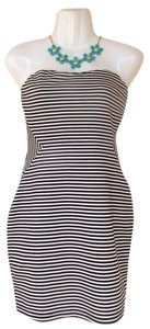 Forever 21 short dress black, white Strapless Black And White Stripes Striped on Tradesy