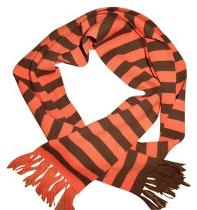 Coral Brown Striped Narrow Fringed Long Scarf