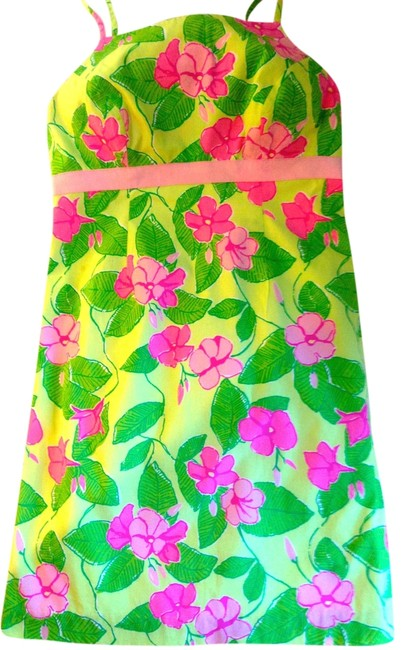Lilly Pulitzer short dress New Grosgrain Tie-back Pink and Green Floral Vintage Mini on Tradesy