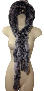 Avante AVANTE~Rex Rabbit Fur Hooded scarf with tails Snowtop Black (Chinchilla look)