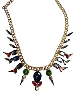 Betsey Johnson Betsey Johnson Bib Necklace Crystals Gold Tone Pink Blue Green J1142