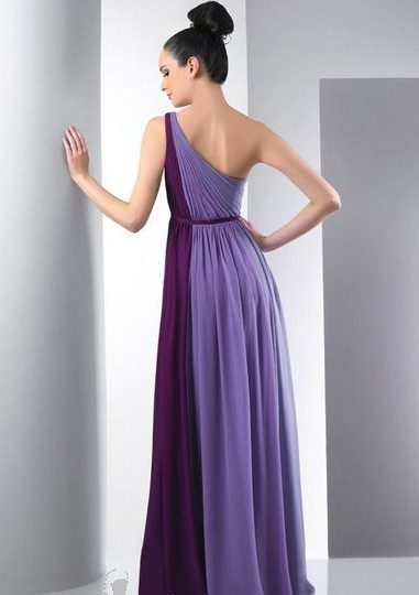 Bari Jay Shadow/Wisteria/Eggplant Chiffon Feminine Bridesmaid/Mob Dress Size 4 (S)