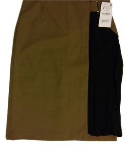 Zara Pencil Sheer Pleated Skirt Olive