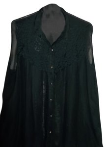 Johnathan Martin Plus Size Lace Gold Buttons Top Black