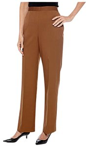 Alfred Dunner Elastic Waistband Flat Front High Waist Straight Leg Trouser Pants Brown