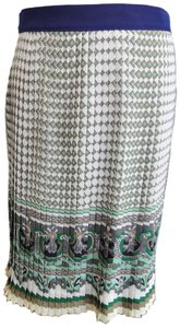 Zara Mosaic Print Pleated Mini Skirt cream, beige, green, silver, gold, navy