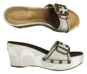 Coach Elaine Wedge Signature Sandal Beige Wedges
