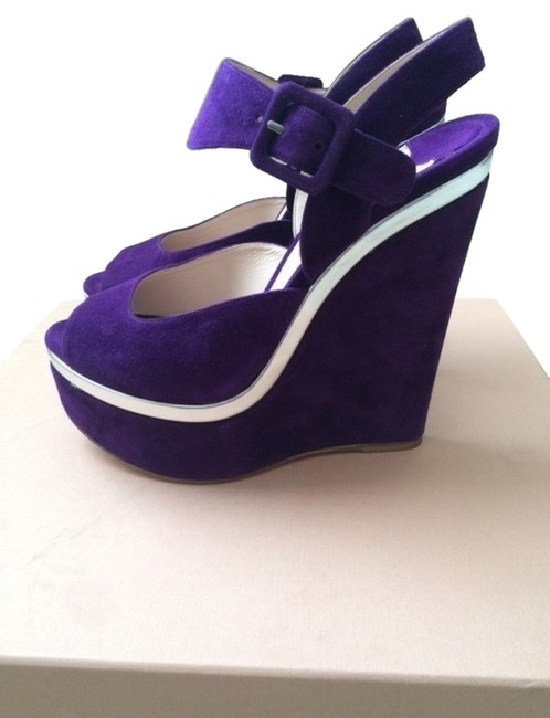Item - Purple and Silver Wedges Size US 6.5 Regular (M, B)