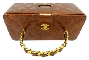 Chanel Clutch Hand Small Tote in copper brown