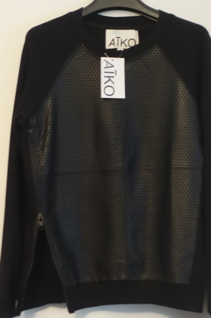 AIKO Leather Perforated Sweater