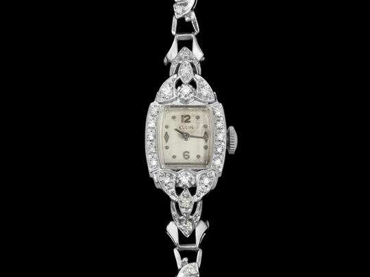Elgin 1950's Elgin Vintage Ladies Watch - 14K White Gold & Diamonds
