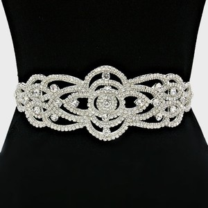 High Quality 3 In One Versatile Crystal Applique Beaded Bridal Sash Waist Band Headband Choker