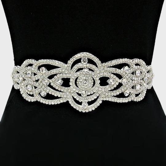 White High Quality 3 In One Versatile Crystal Applique Beaded Band Headband Choker Sash