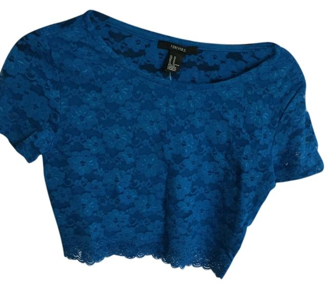 Forever 21 Cute Crop Top royal blue lace