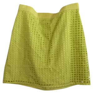 Ann Taylor LOFT Eyelet Summer Mini Skirt Yellow