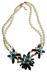 Faux Pearl Crystal Bib Necklace White Blue Gold Tone J1147