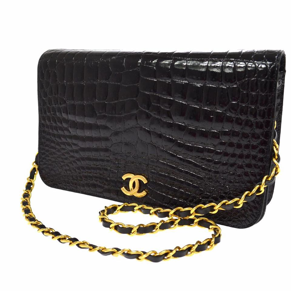 f90e610a49470c Chanel Classic Flap Rare Crocodile Gold Chain Full Black Alligator Skin  Leather Shoulder Bag