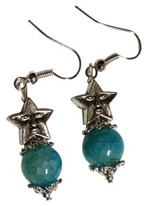 Other Handmade Spider Agate Gemstone Earrings Teal Star J1149