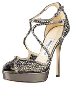 Jimmy Choo Fairview Crystal-mesh Platform Silver Sandals
