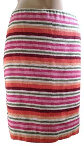 Talbots Pencil Linen Skirt Multi-Color Striped