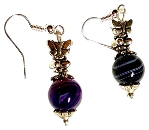 New Striped Agate Gemstone Earrings Dark Purple Silver J1151